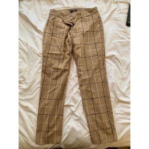 Ankle Crop Plaid Work Pants